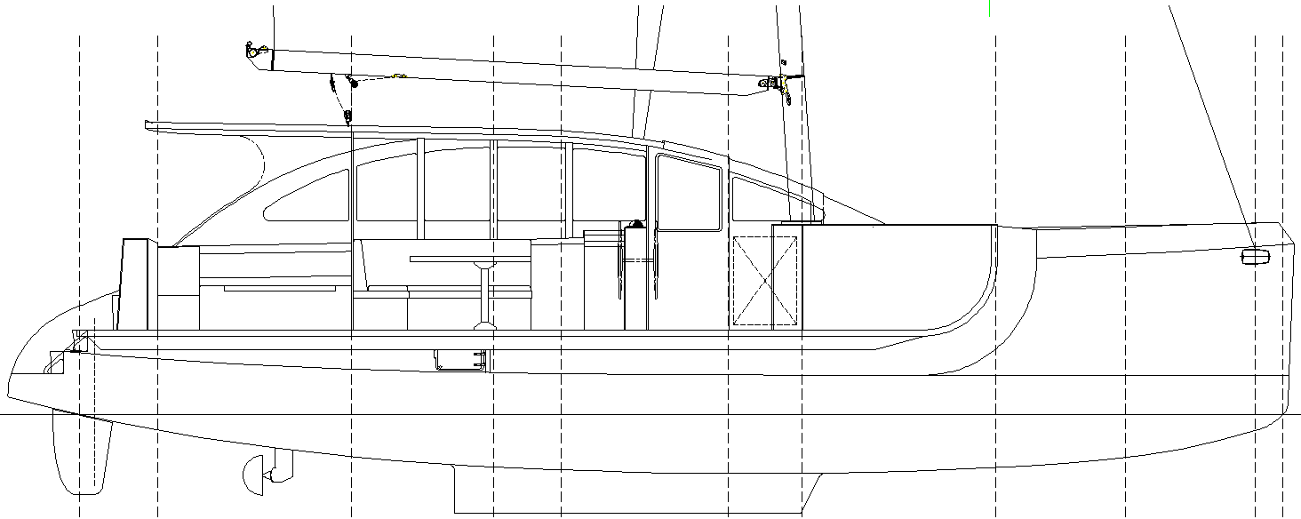 Dix 430 catamaran inboard section